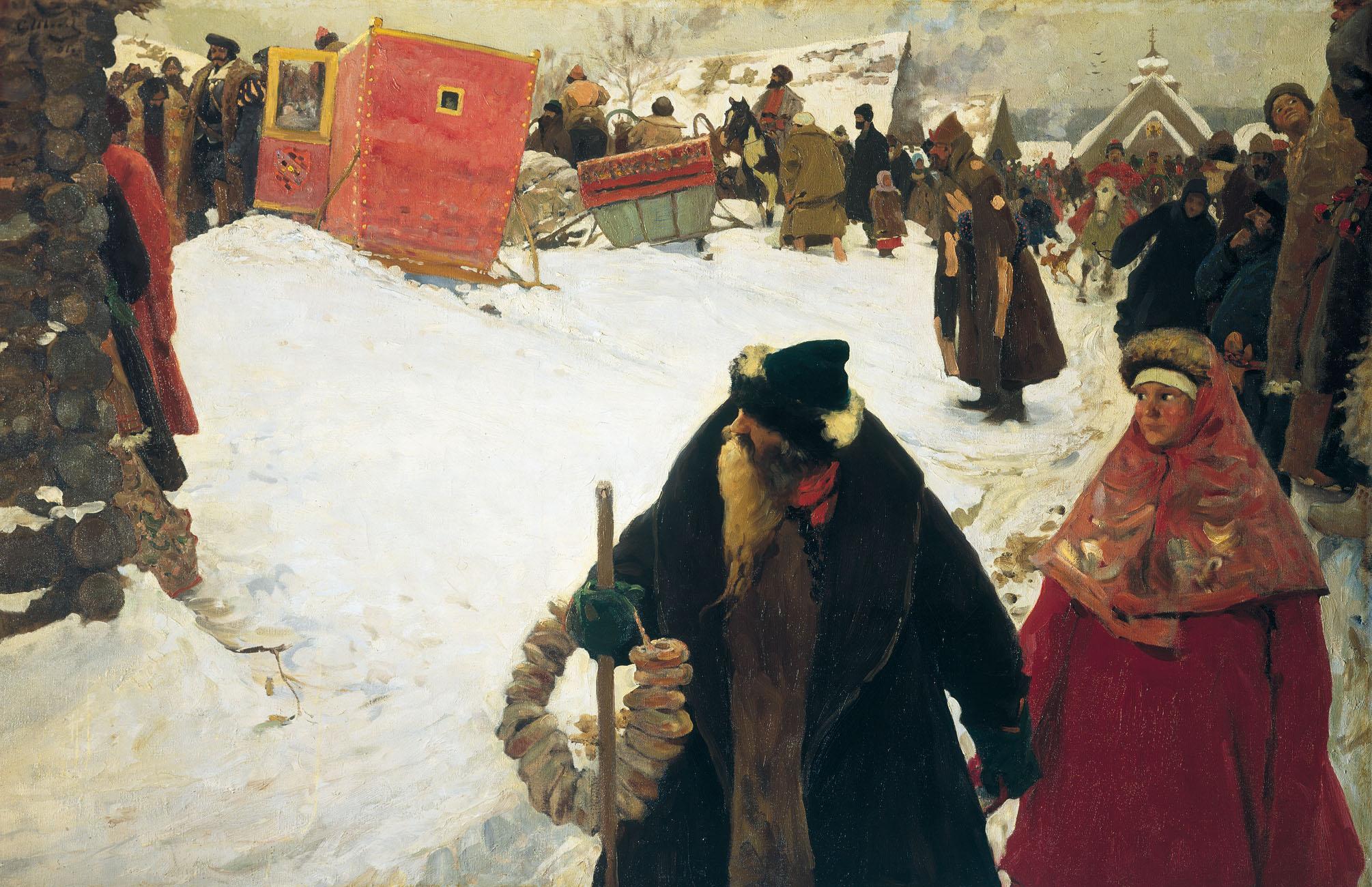 Обои картина, осень, Станислав Москвитин, ручей, холст, масло, беседка. Разное foto 6