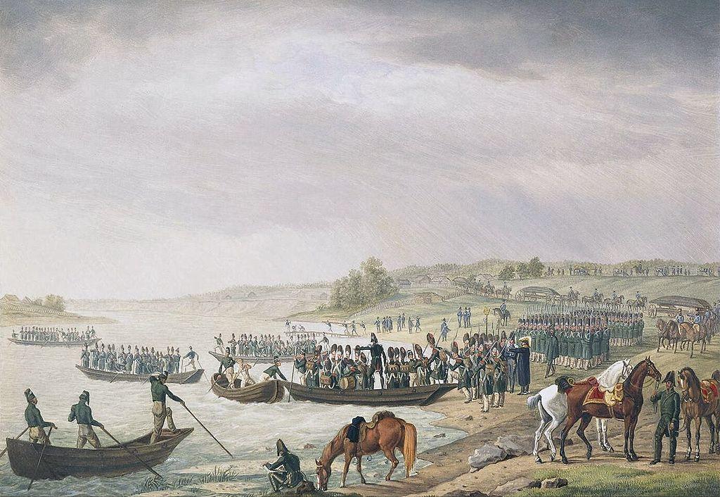 Альбрехт Адам. Переправа Итальянского корпуса Евгения Богарне через Неман 30 июня 1812 года.