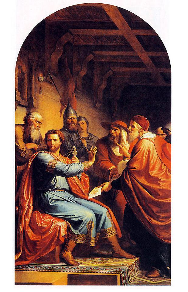 """Ф. Моллер. """"Александр Невский и папские легаты"""". Роспись Большого Кремлёвского дворца."""