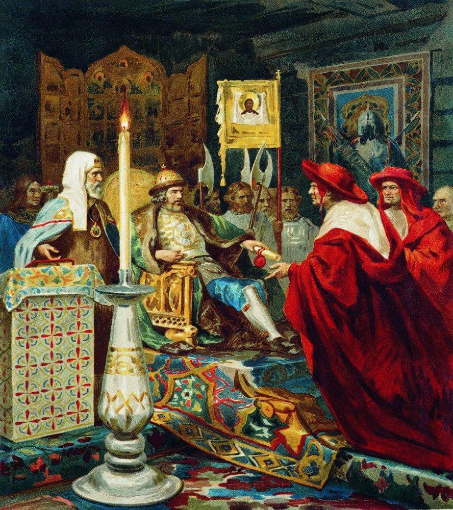 """Генрих Семирадский. """"Александр Невский принимает папских легатов""""."""