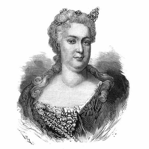Иоганна Елизавета, княгиня Ангальт-Цербстская, урожденная принцесса Голштейн-Готторпская, мать императрицы Екатерины II. Гравюра. 1870-е.