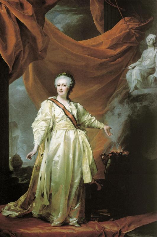 Дмитрий Левицкий. Портрет Екатерины II в виде законодательницы в храме богини Правосудия. 1780-е.