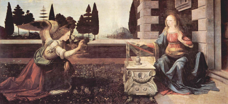 Леонардо да Винчи. Благовещение.