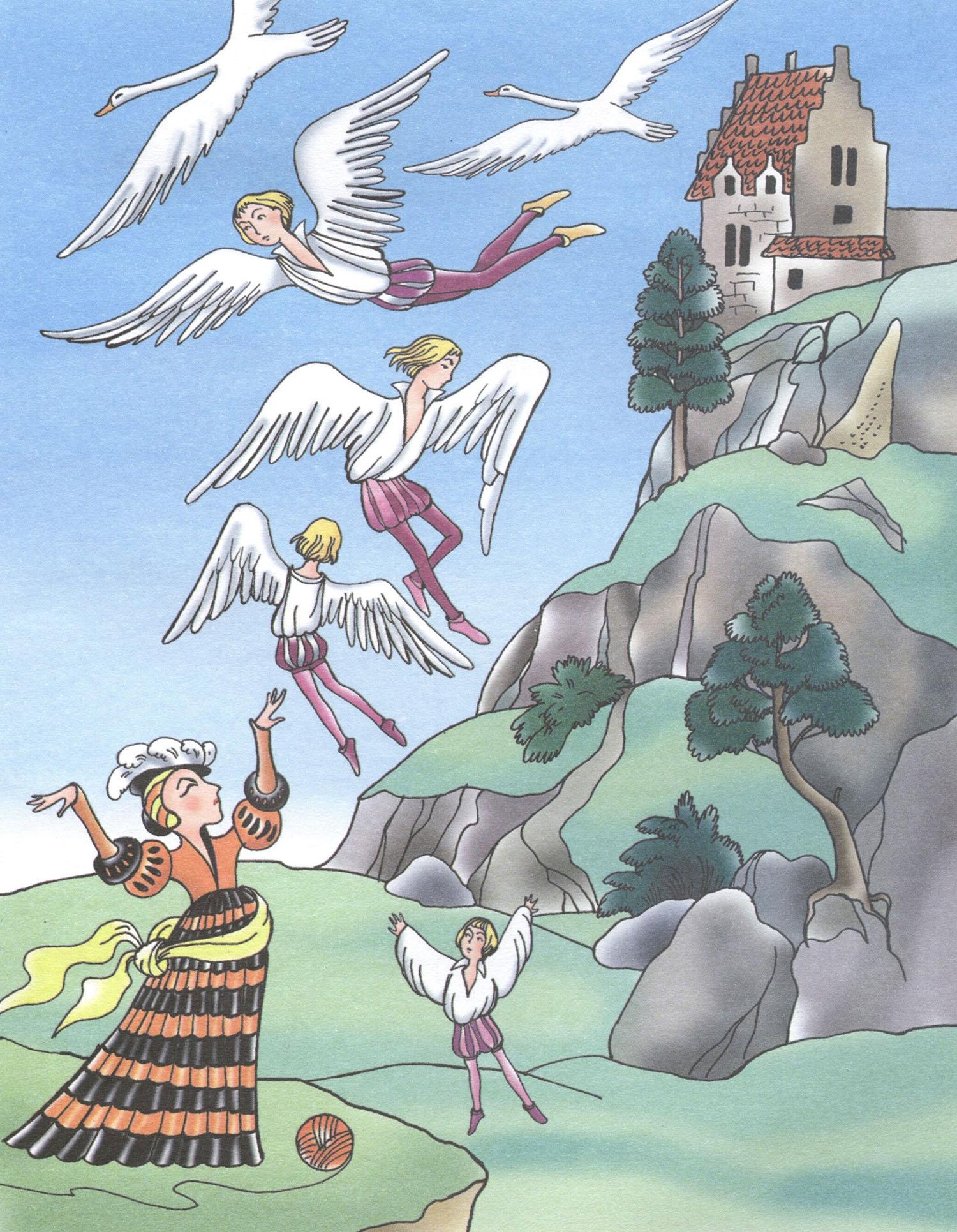 иллюстрации к сказке шесть лебедей свою очередь служат