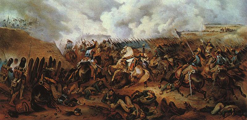 А. Адам. Французская атака на батарею Раевского и смерть генерала Коленкура 7 сентября 1812 года.
