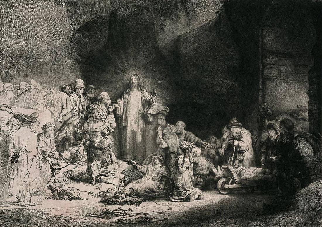 """Рембрандт Харменс ван Рейн. """"Христос, исцеляющий больных"""". 1642-1647."""