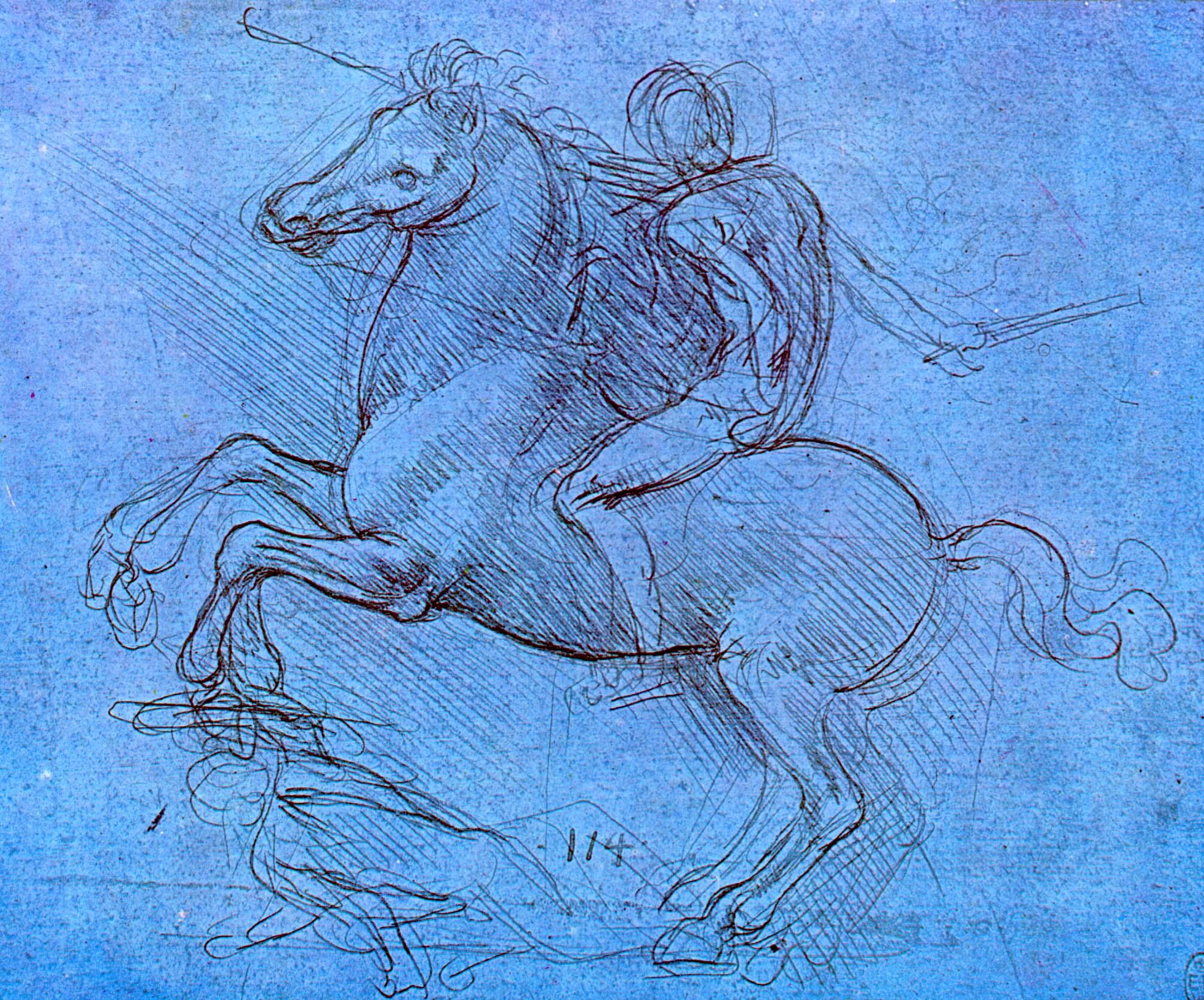Леонардо да Винчи. Всадник, поднявший коня на дыбы и поверженный.