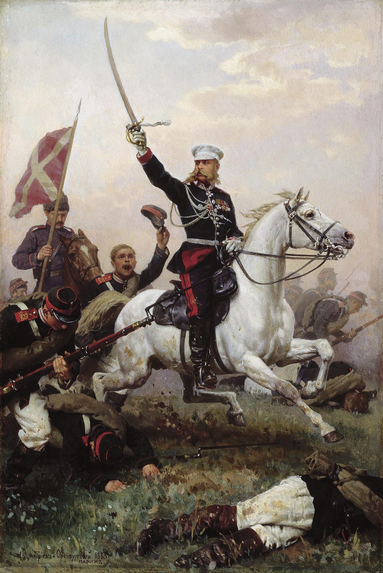 Н. Дмитриев-Оренбургский. Генерал Н. Д. скобелев на коне. 1883.
