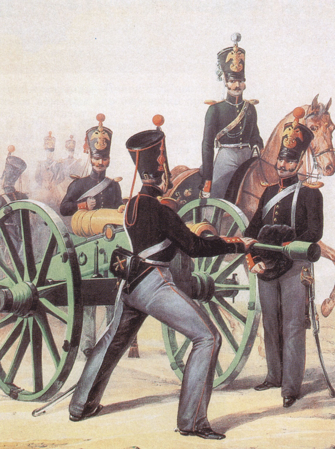 Предположительно Л. Белоусов. Обер-офицер и рядовые конно-артиллерийской бригады. 1839.