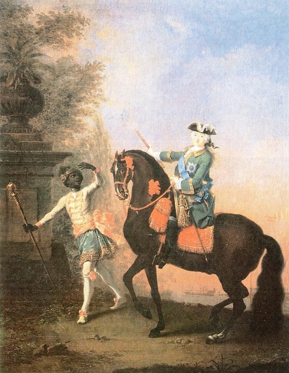 Георг Гроот. Портрет императрицы Елизаветы Петровны на коне с арапчонком. 1743.