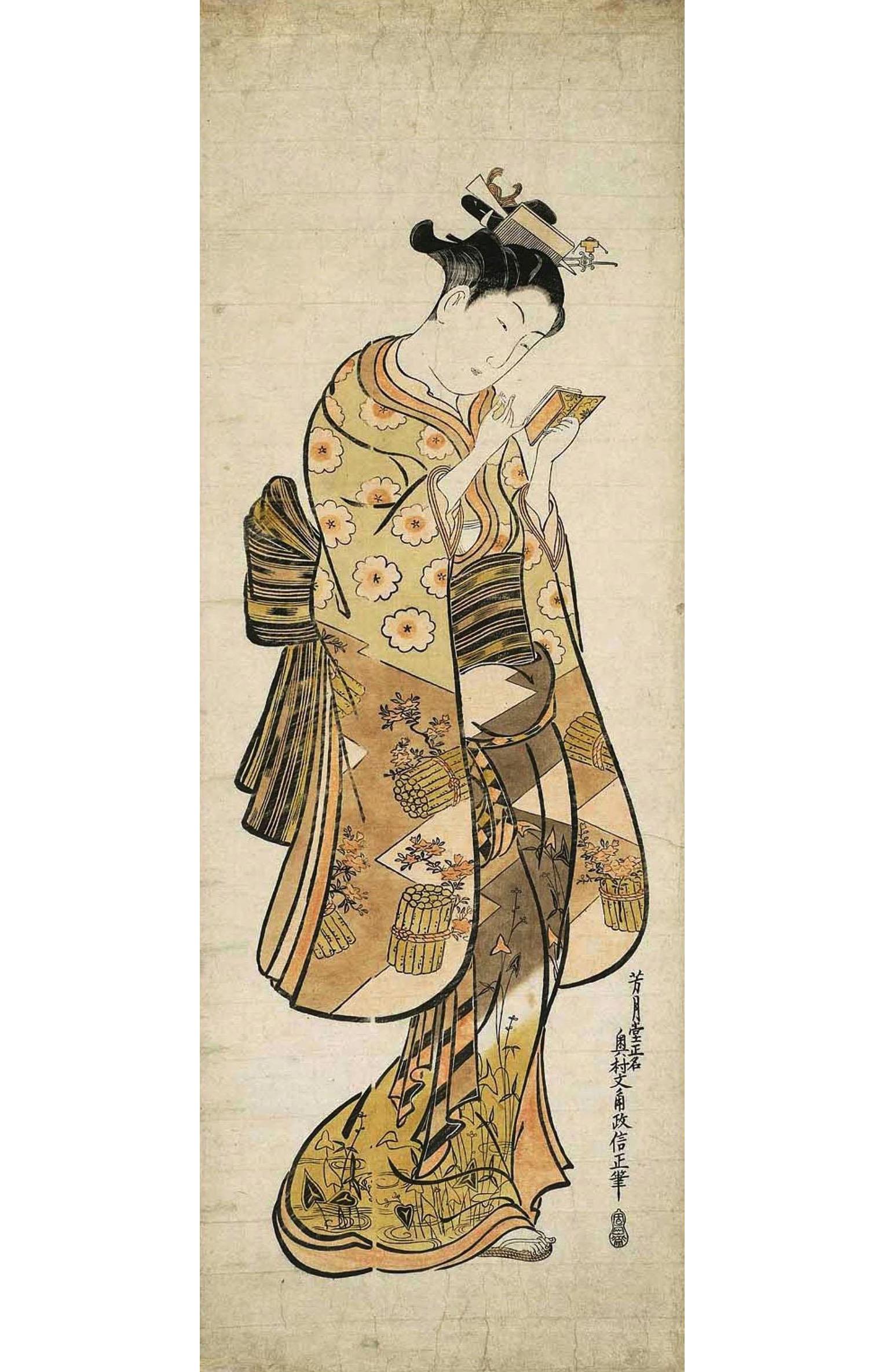 Окумура Масанобу. Красавица подводит губы помадой, глядясь в складное зеркальце. Около 1743-1746.