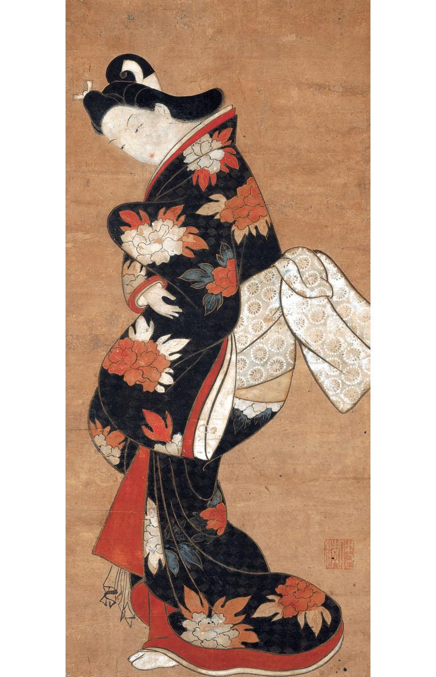 Тории Киёнобу I. Красавица в чёрном кимоно. 1710-1729.