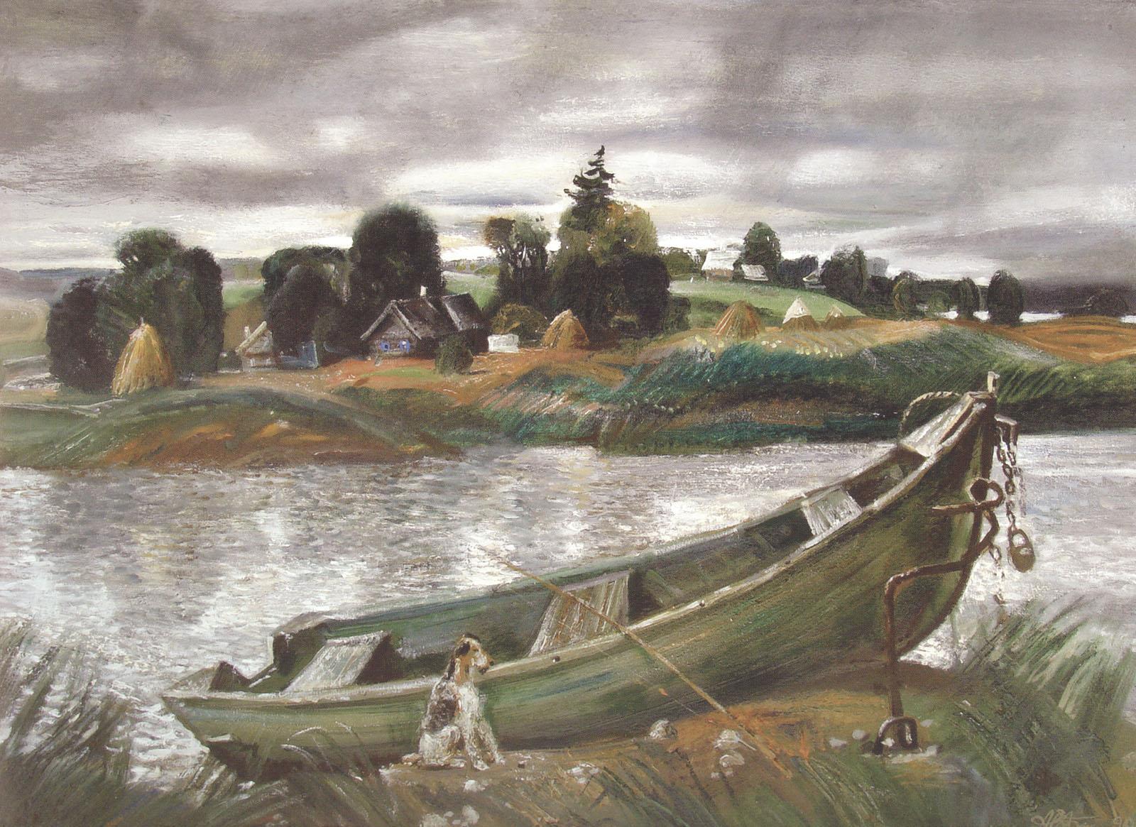А. Белов. У реки Сороть. Лодка. 1991.