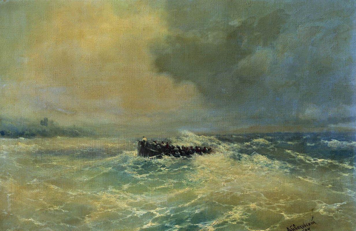 Иван Айвазовский. Перед Алупкой в Крыму. Лодка в море. 1894.