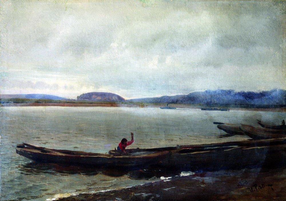 Илья Репин. Волжский пейзаж с лодками. 1870.