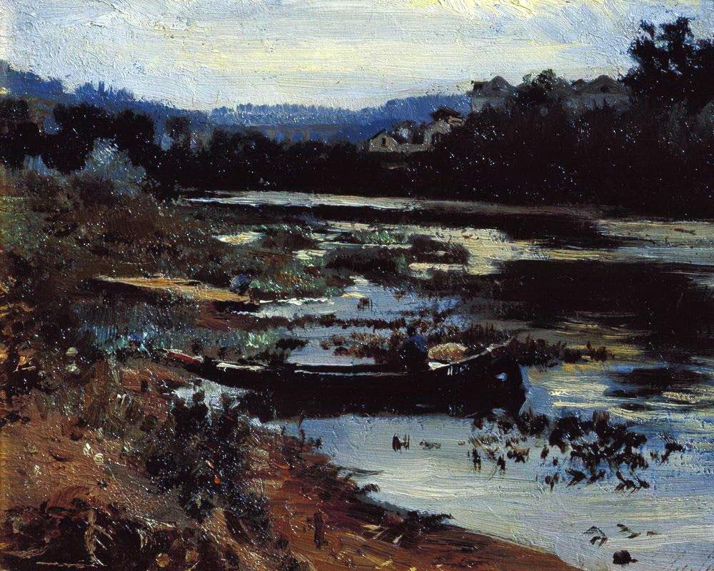 Илья Репин. Пейзаж с лодкой. 1875.