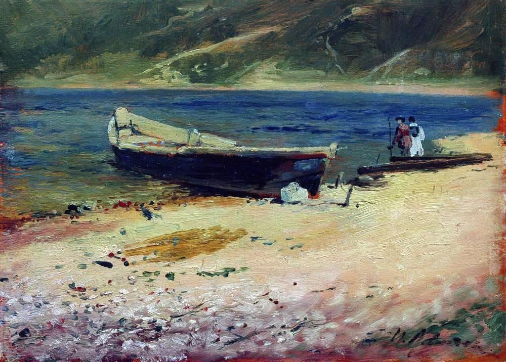 Исаак Левитан. Лодка на берегу. 1880-е.