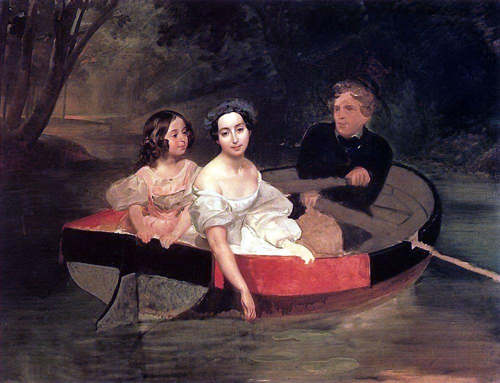 Карл Брюллов. Портрет автора и баронессы Е. Н. Меллер-Закомельской с девочкой, в лодке. 1833-1835.