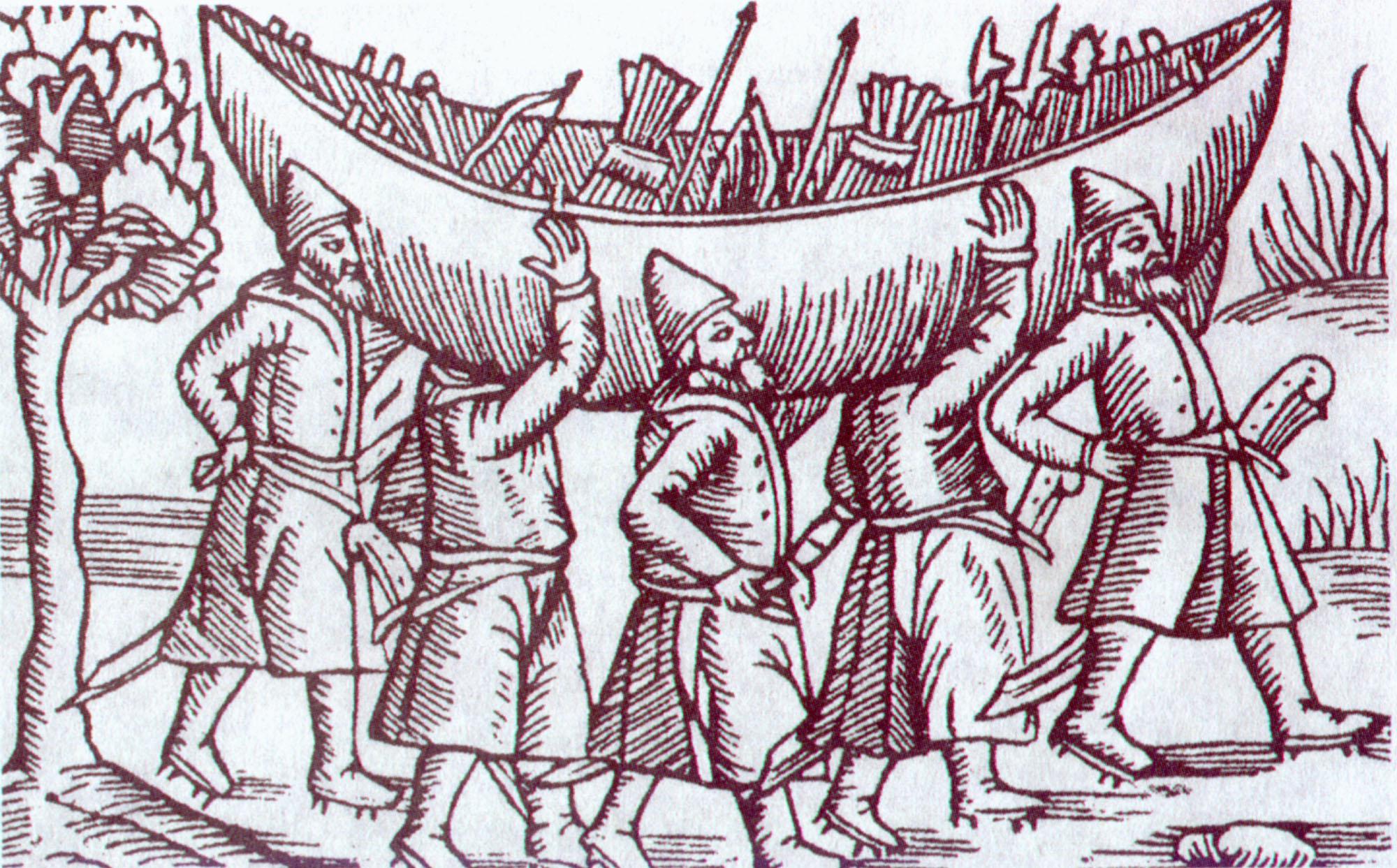 Перенос лодки через волок. С гравюры XVI века.