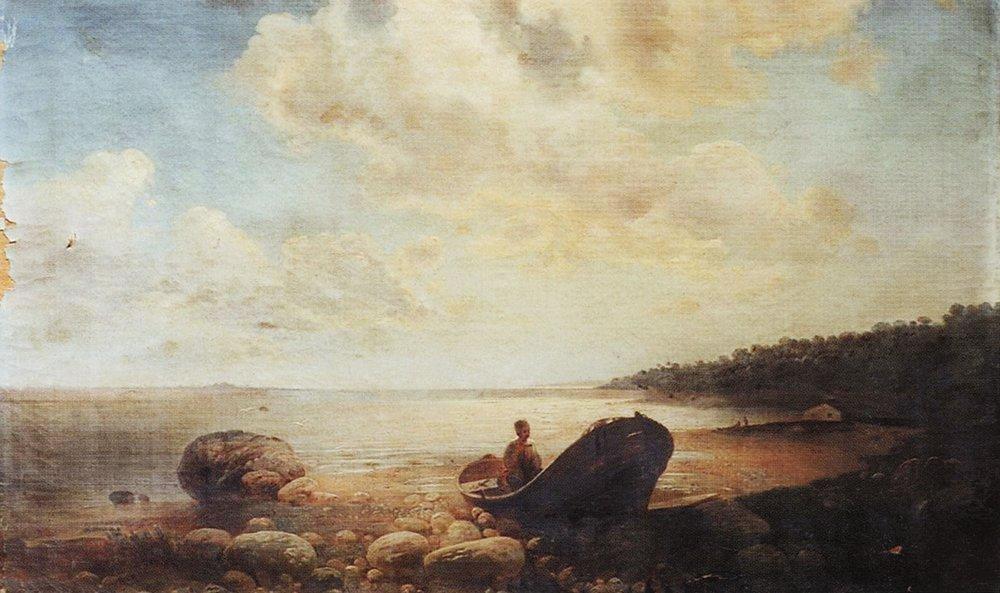 Алексей Саврасов. Пейзаж с лодкой. 1860-е.