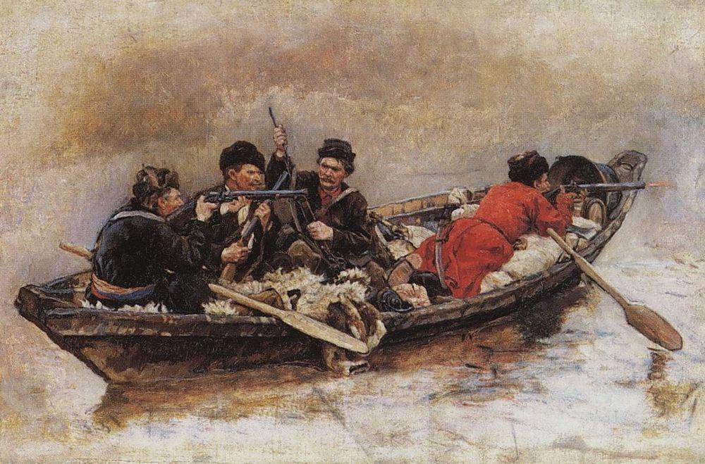 Василий Суриков. Казаки в лодке.
