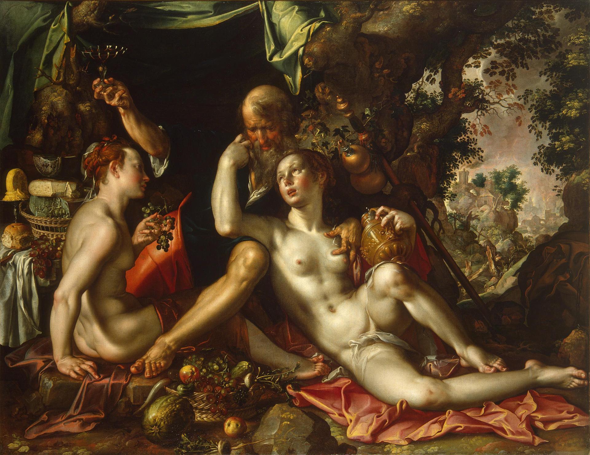 """Иоахим Антония Эйтевал. """"Лот с дочерьми"""". Около 1600."""