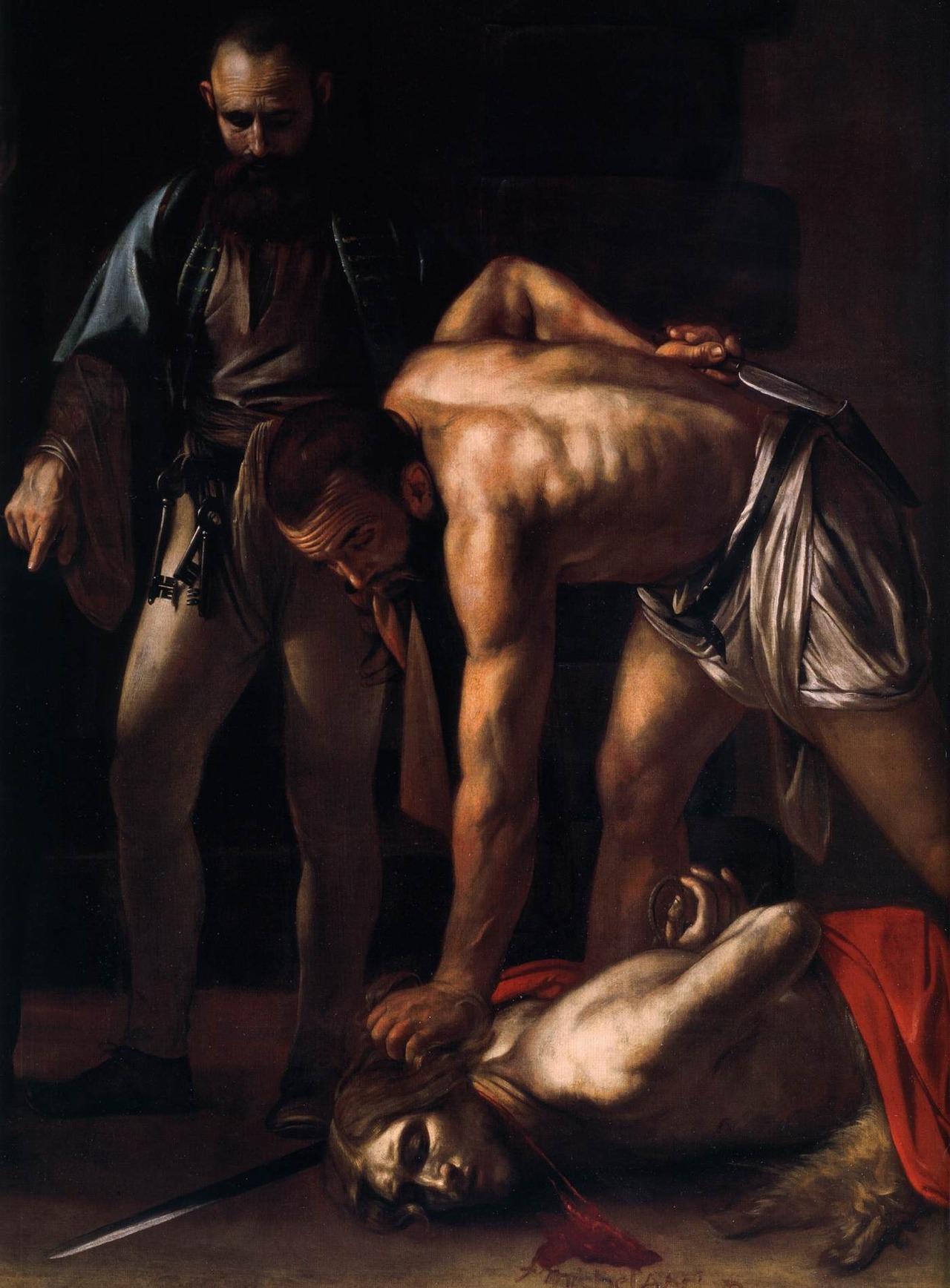 Караваджо. Усекновение главы Иоанна Крестителя. Фрагмент. Около 1608.