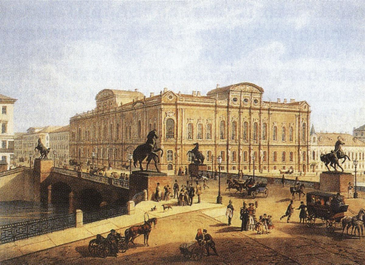 Ж. Жакоте и Регамей. Аничков мост. Раскрашенная литография с оригинала И. И. Шарлеманя. 1850-е.