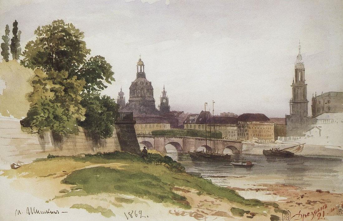 Иван Шишкин. Дрезден. Мост Августа. 1862.