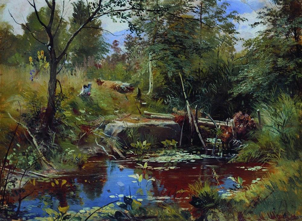 Иван Шишкин. Пейзаж с мостиком.