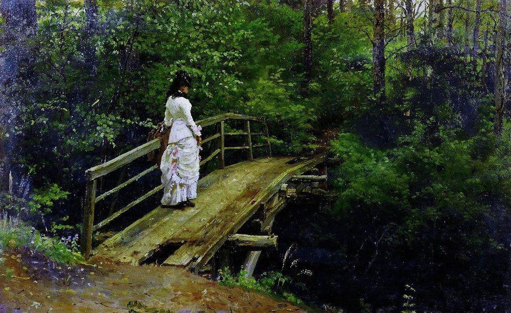 Илья Репин. Летний пейзаж (Вера Алексеевна Репина на мостике в Абрамцеве). 1879.