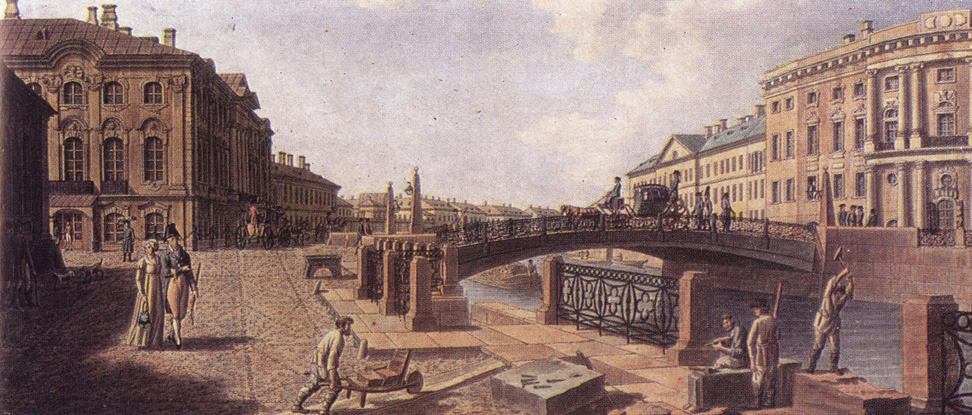 Б. Патерсен. Полицейский мост через Мойку на Невском проспекте. Начало XIX века.