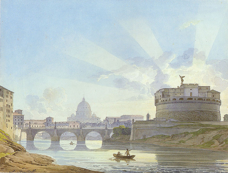 Карл Павлович Брюллов. Замок и мост Святого Ангела.
