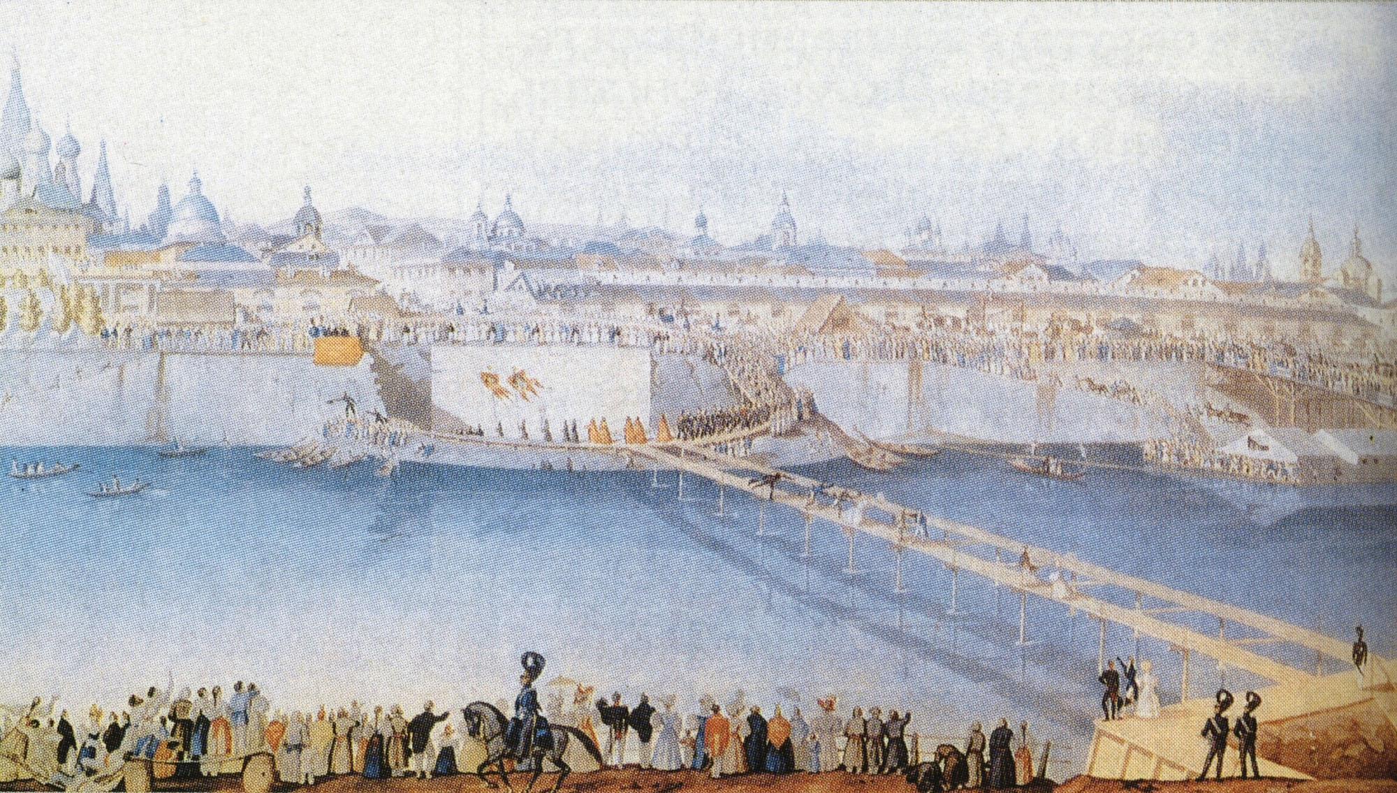 К. Гампельн. Закладка нового металлического моста. 1838.