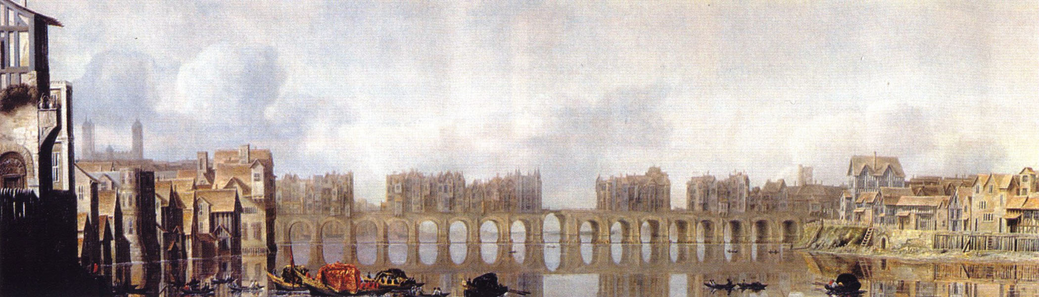 Неизвестный художник. Старый Лондонский мост (вид до пожара 1666 года). XVII век.