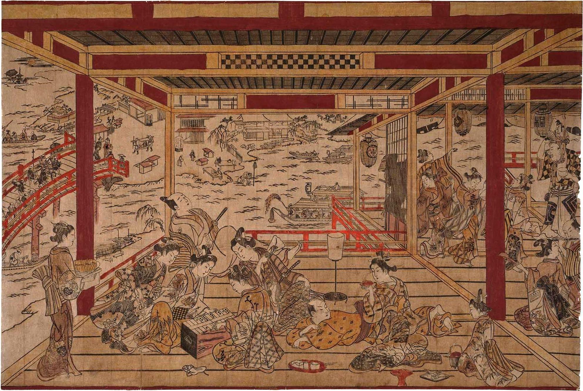 Окумура Масанобу. Наслаждение прохладой вечера на мосту Рюгоку. Около 1745.