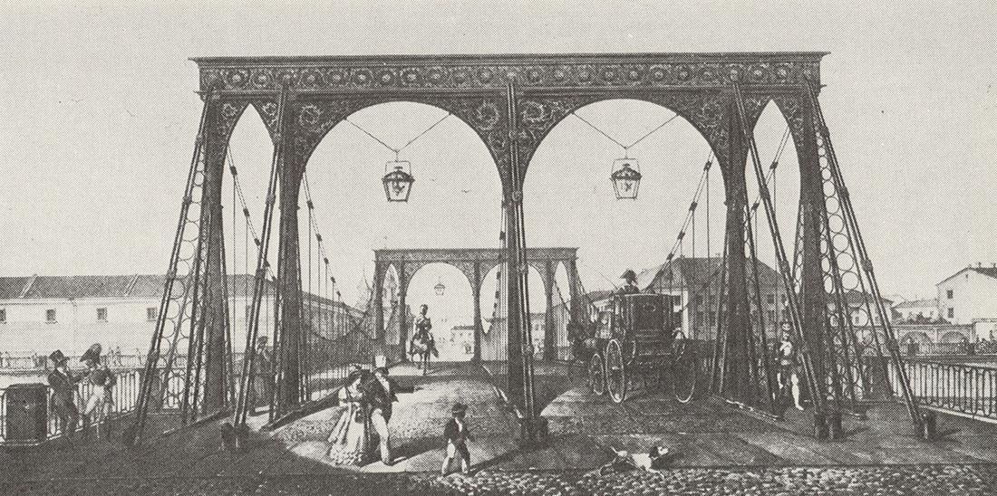 Карл Беггров. Цепной Пантелеймоновский мост через Фонтанку. Литография по рисунку Г. Треттера. 1820-е.