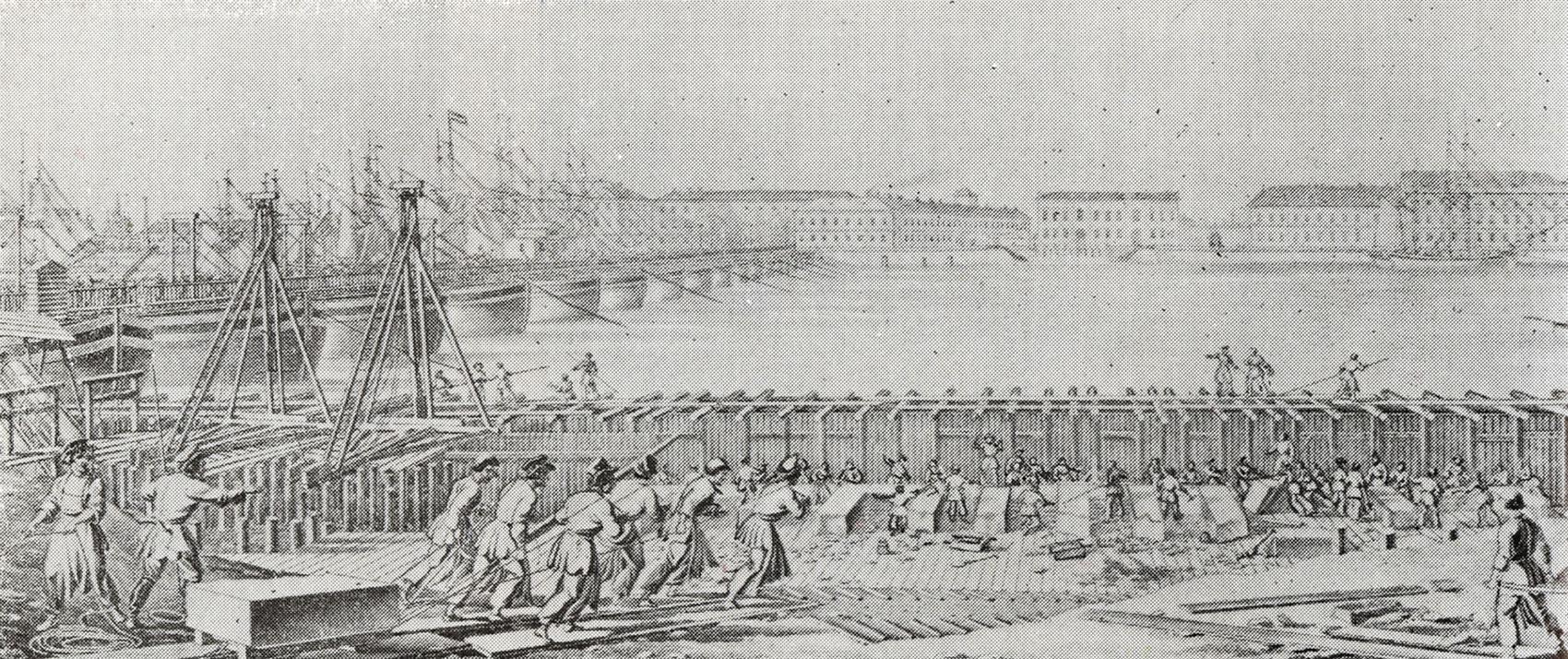 Постройка берегового устоя для нового Исаакиевского моста [Петербург]. Литография по рисунку Г. Треттера. 1820-е.
