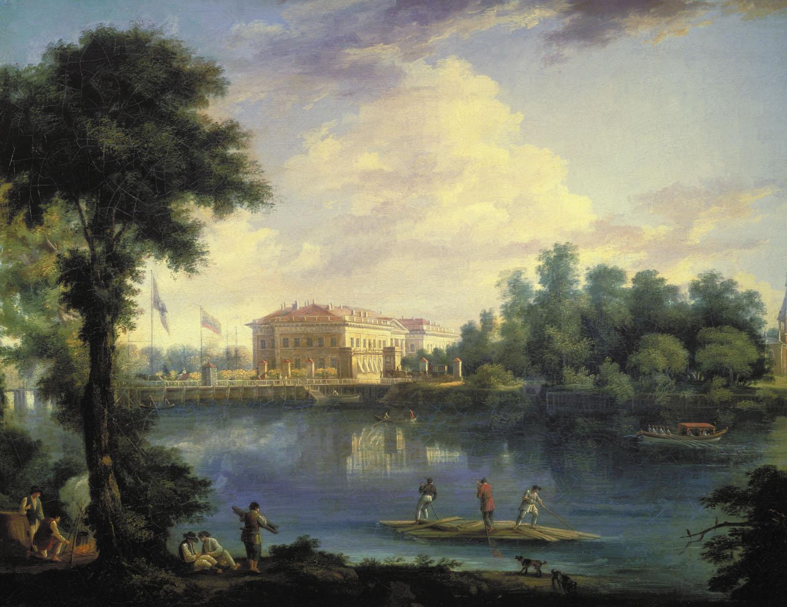 Семён Щедрин. Вид на Каменноостровский дворец и плашкоутный мост через Большую Невку со стороны Строгановской набережной.