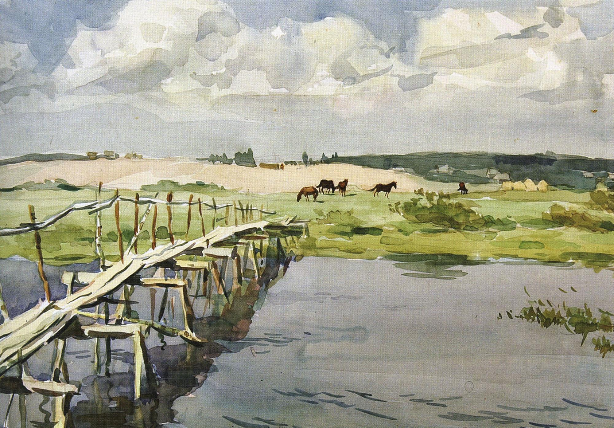 Сергей Кузьмич Фролов. Михайловское. Мостик через Сороть. 1963.