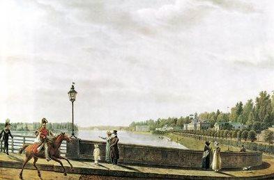 Степан Филиппович Галактионов. Въезд на мост со стороны Каменного острова. 1822.