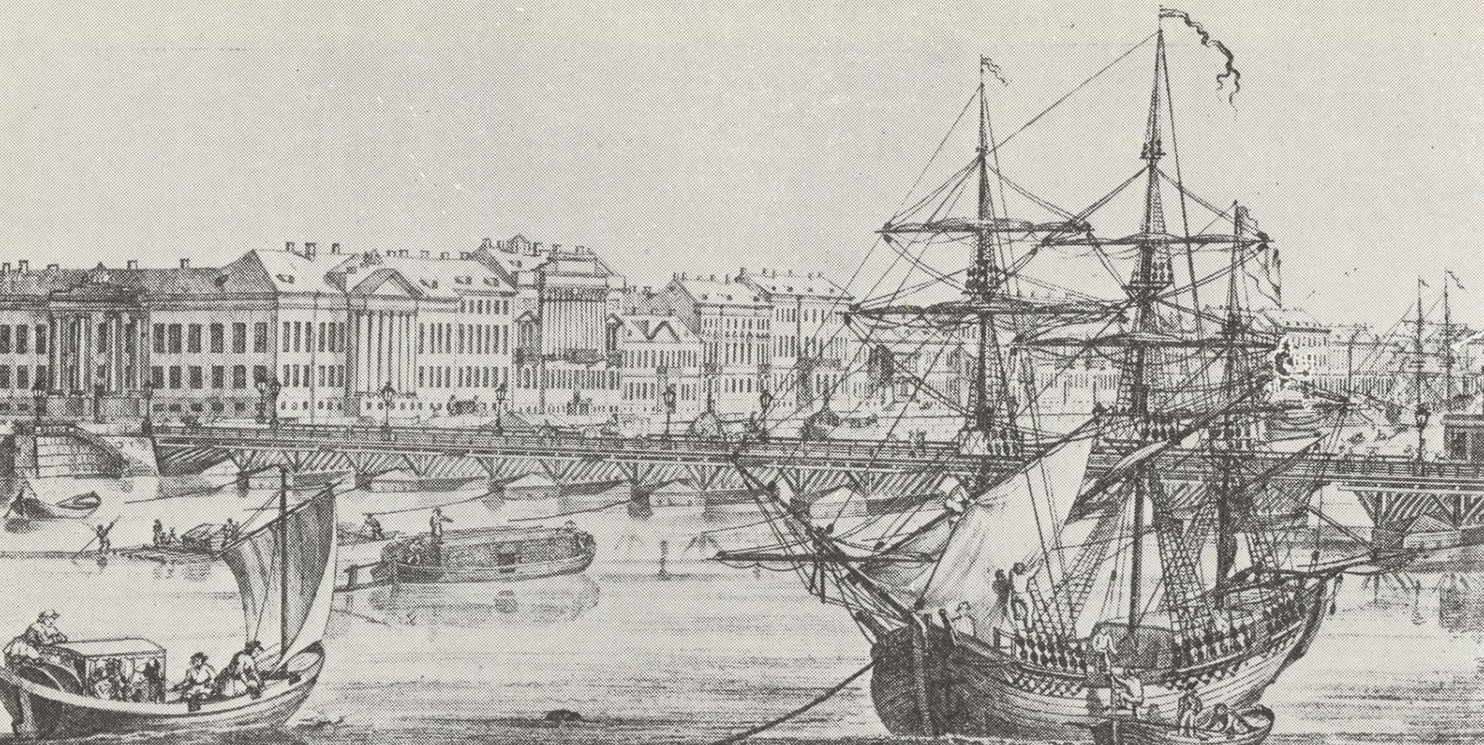 Вид на Исаакиевский наплавной мост и Английскую набережную Литография. 1820-е.