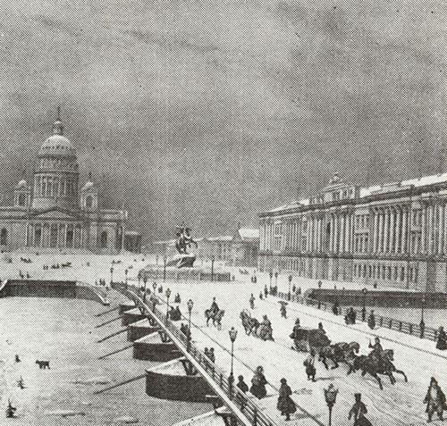 Вид на Исаакиевский наплавной мост и Петровскую (Сенатскую( площадь. 1830-е.