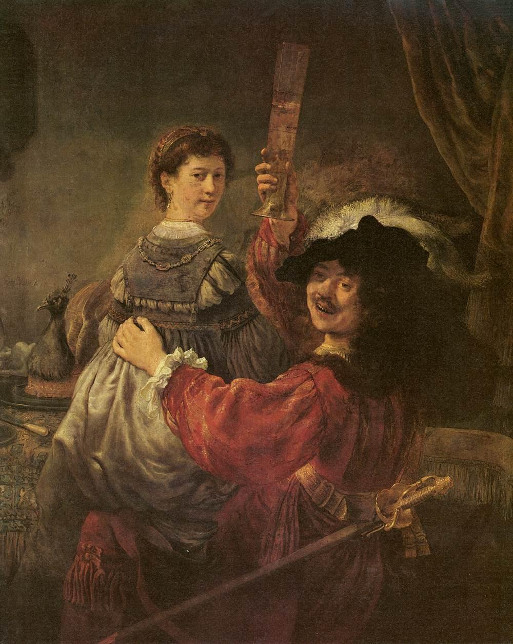 Рембрандт ван Рейн. Автопортрет с Саскией на коленях. 1633.