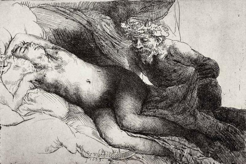 Рембрандт ван Рейн. Юпитер и Антиопа. 1658.