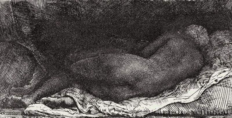 Рембрандт ван Рейн. Лежащая негритянка. 1658.