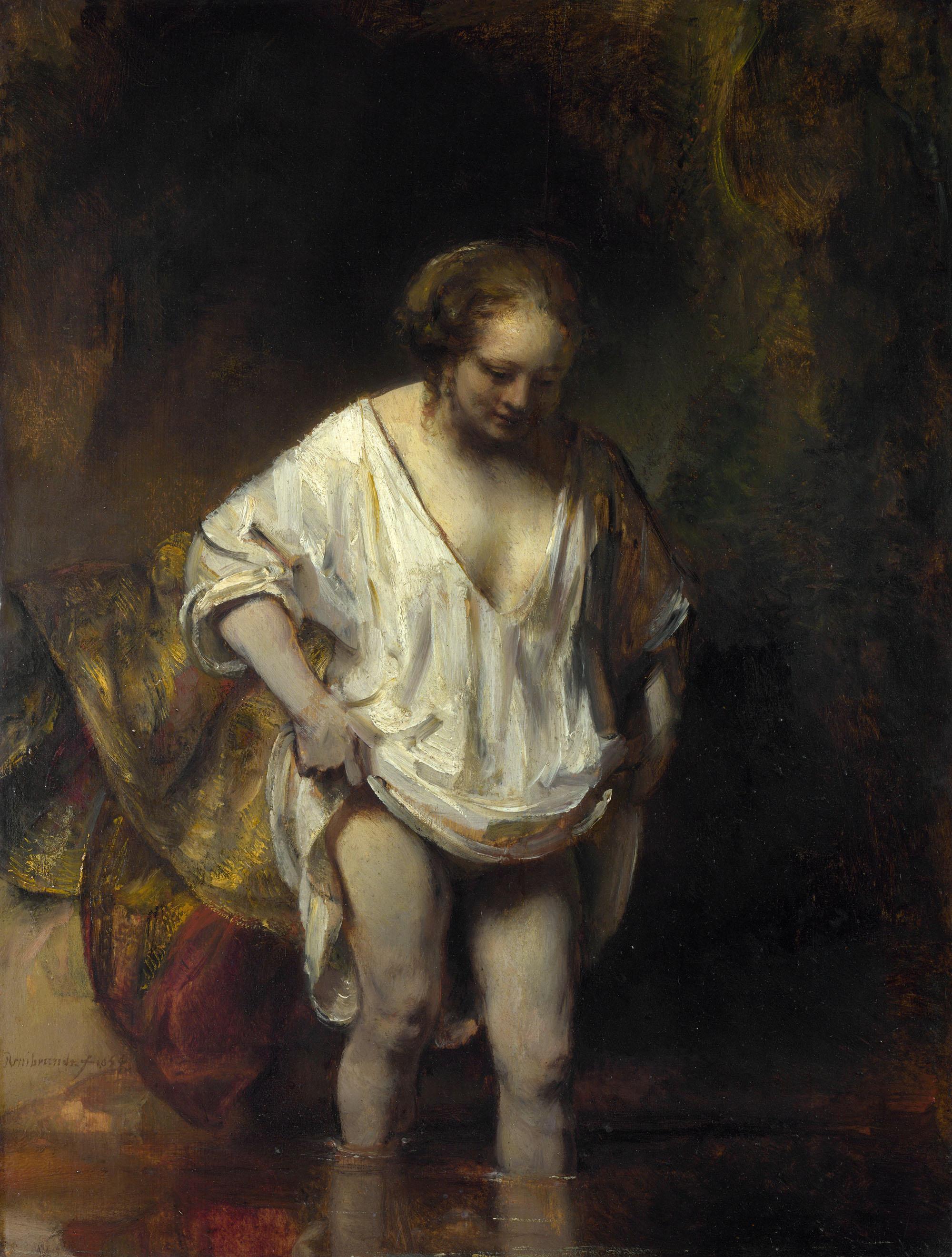Рембрандт ван Рейн. Женщина, купающаяся в потоке. 1654.