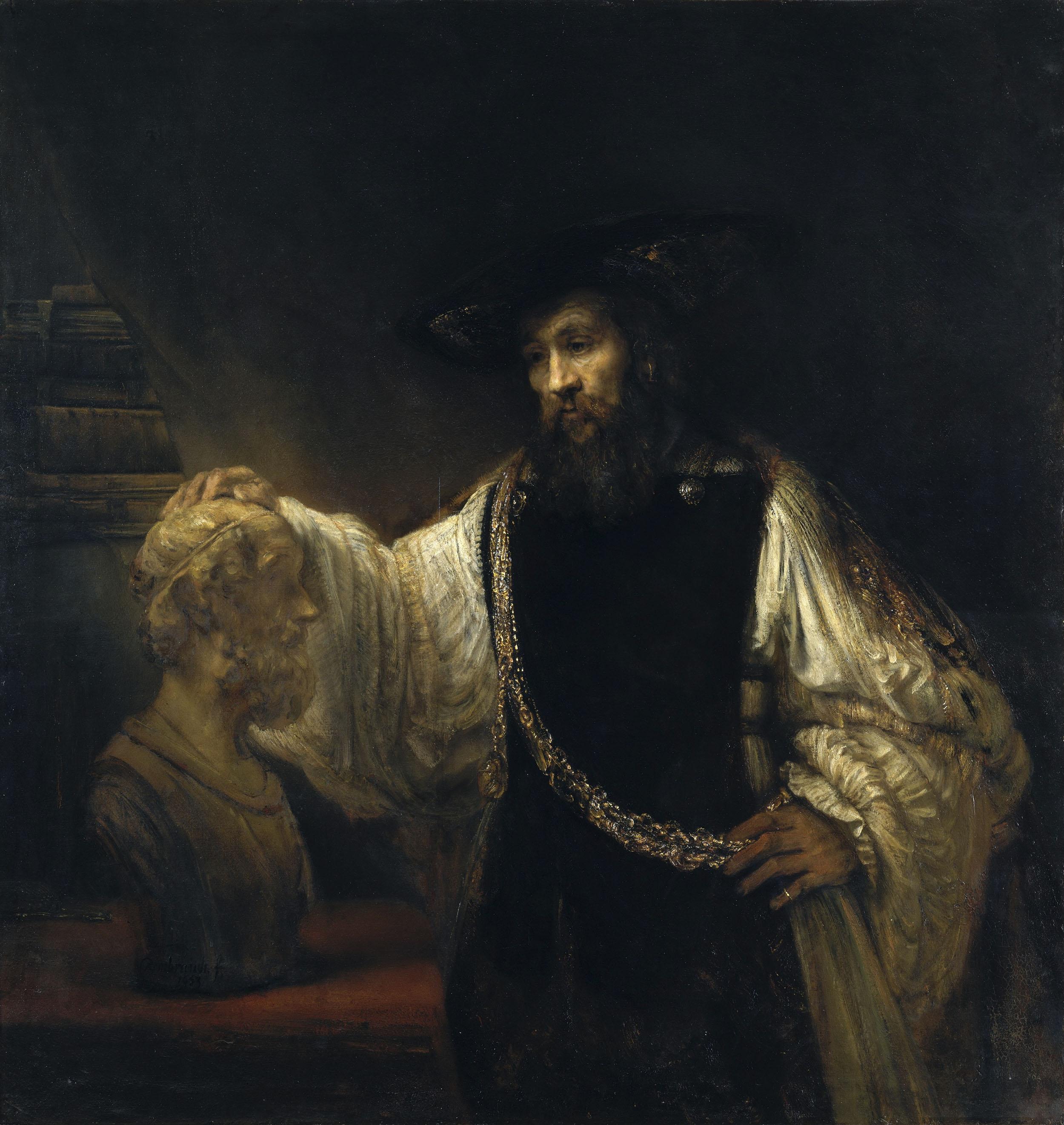 Рембрандт ван Рейн. Аристотель размышляет возле бюста Гомера. 1653.