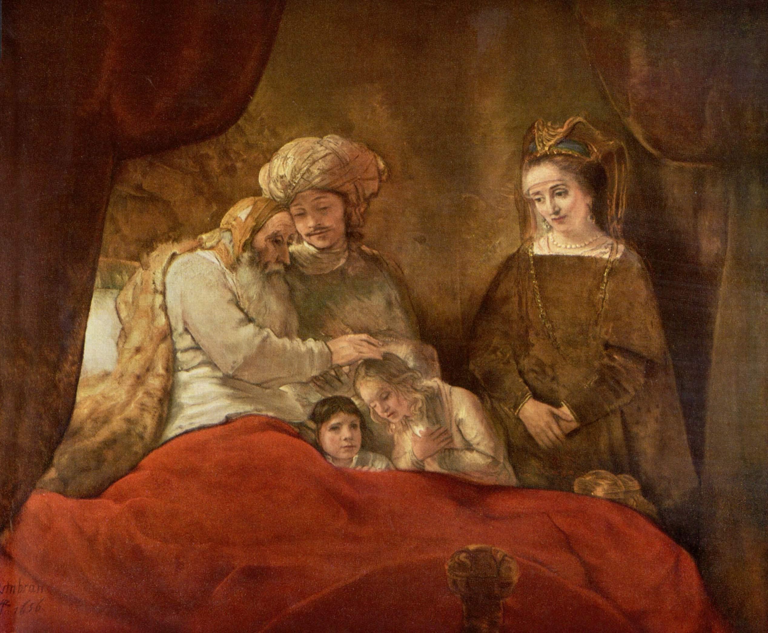 Рембрандт ван Рейн. Иаков, благословляющий сыновей Иосифа. 1653.