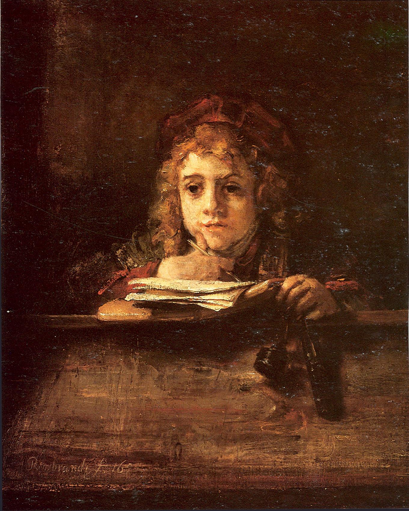 Рембрандт ван Рейн. Сын художника Титус за партой. 1655.